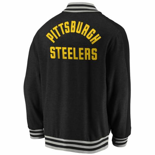 NFL PRO LINE BY FANATICS BRANDED プロ ピッツバーグ スティーラーズ クラシック 黒 ブラックNFL BLACK PRO LINE BY FANATICS BRANDED PITTSBURGH STEELERS TRUE CLASSIC THROWBACK VARSITY FULLZIP JACKETメンズファッシclFKTJ1
