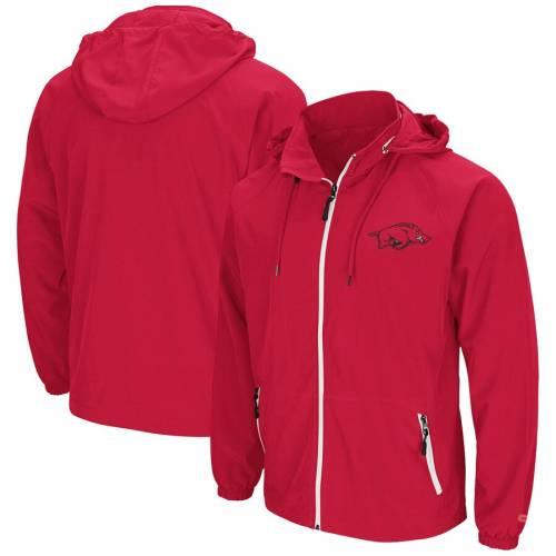 COLOSSEUM 赤 カーディナル メンズファッション コート ジャケット メンズ 【 Arkansas Razorbacks Friday Full-zip Wind Jacket - Cardinal 】 Cardinal