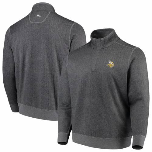 TOMMY BAHAMA ミネソタ バイキングス チャコール メンズファッション コート ジャケット メンズ 【 Minnesota Vikings Proformance Half-zip Pullover Jacket - Heathered Charcoal 】 Heathered Charcoal