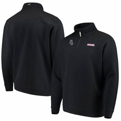 VINEYARD VINES シカゴ 白 ホワイト 黒 ブラック メンズファッション コート ジャケット メンズ 【 Chicago White Sox Shep Shirt Quarter-zip Pullover Jacket - Black 】 Black