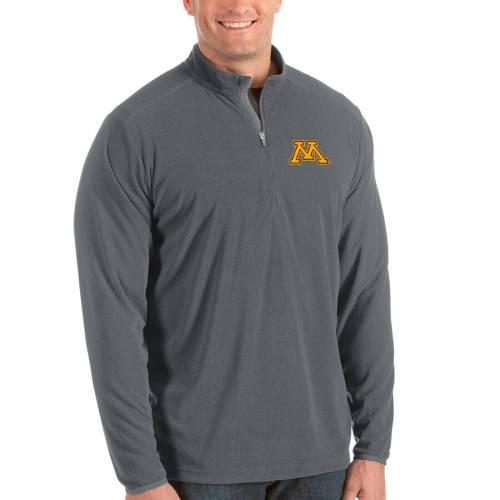 ANTIGUA ミネソタ メンズファッション コート ジャケット メンズ 【 Minnesota Golden Gophers Big And Tall Glacier Half-zip Pullover Jacket - Black/gray 】 Black/gray