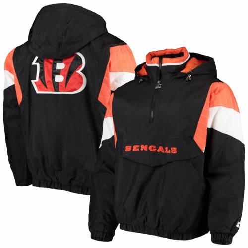スターター STARTER シンシナティ ベンガルズ 黒 ブラック メンズファッション コート ジャケット メンズ 【 Cincinnati Bengals Nfl 100 Quarter-zip Breakaway Jacket - Black 】 Black