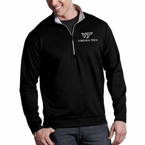 ANTIGUA バージニア テック ロゴ 黒 ブラック メンズファッション コート ジャケット メンズ 【 Virginia Tech Hokies Academic Logo Leader 1/4-zip Pullover Jacket - Black 】 Black