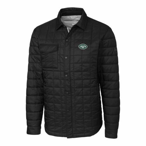 CUTTER & BUCK ジェッツ ロゴ 黒 ブラック メンズファッション コート ジャケット メンズ 【 New York Jets Cutter And Buck Big And Tall Logo Rainier Shirt Jacket - Black 】 Black