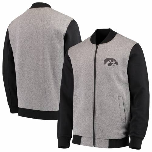 G-III SPORTS BY CARL BANKS メンズファッション コート ジャケット メンズ 【 Iowa Hawkeyes Midfield Transitional Full-zip Jacket - Gray/black 】 Gray/black