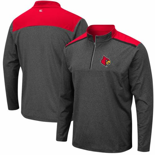 COLOSSEUM ルイビル カーディナルス チャコール メンズファッション コート ジャケット メンズ 【 Louisville Cardinals Snowball Windshirt Quarter-zip Pullover Jacket - Heathered Charcoal 】 Heathered Charcoal