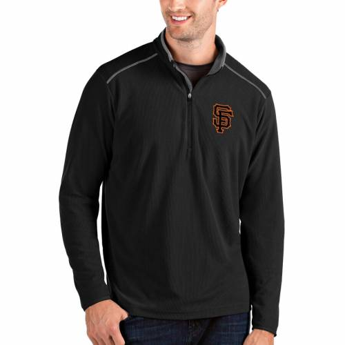 ANTIGUA ジャイアンツ 黒 ブラック メンズファッション コート ジャケット メンズ 【 San Francisco Giants Glacier Quarter-zip Pullover Jacket - Black 】 Black