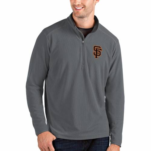 ANTIGUA ジャイアンツ 黒 ブラック メンズファッション コート ジャケット メンズ 【 San Francisco Giants Glacier Quarter-zip Pullover Jacket - Black 】 Gray