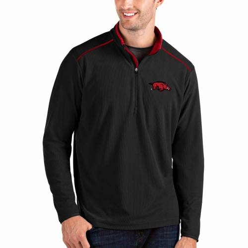 ANTIGUA メンズファッション コート ジャケット メンズ 【 Arkansas Razorbacks Glacier Quarter-zip Pullover Jacket - Black/charcoal 】 Black