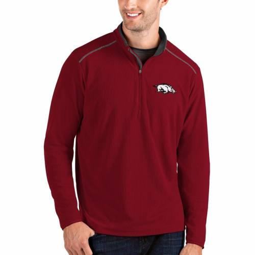 ANTIGUA メンズファッション コート ジャケット メンズ 【 Arkansas Razorbacks Glacier Quarter-zip Pullover Jacket - Black/charcoal 】 Cardinal