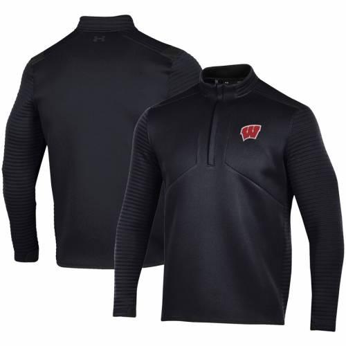 アンダーアーマー UNDER ARMOUR ウィスコンシン 黒 ブラック メンズファッション コート ジャケット メンズ 【 Wisconsin Badgers Daytona Quarter-zip Jacket - Black 】 Black