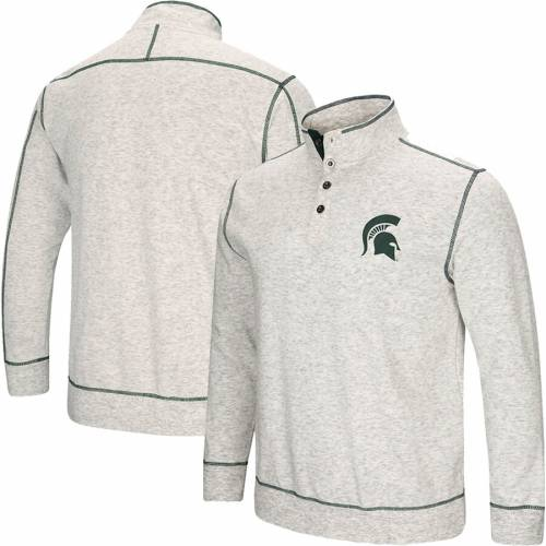 COLOSSEUM ミシガン スケートボード 【 STATE MICHIGAN SPARTANS BOURBON BOWL 1 2BUTTON UP JACKET HEATHERED GRAY 】 メンズファッション コート ジャケット 送料無料