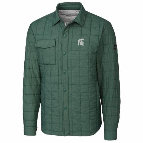 CUTTER & BUCK ミシガン スケートボード 緑 グリーン メンズファッション コート ジャケット メンズ 【 Michigan State Spartans Cutter And Buck Rainier Full-snap Shirt Jacket - Green 】 Green