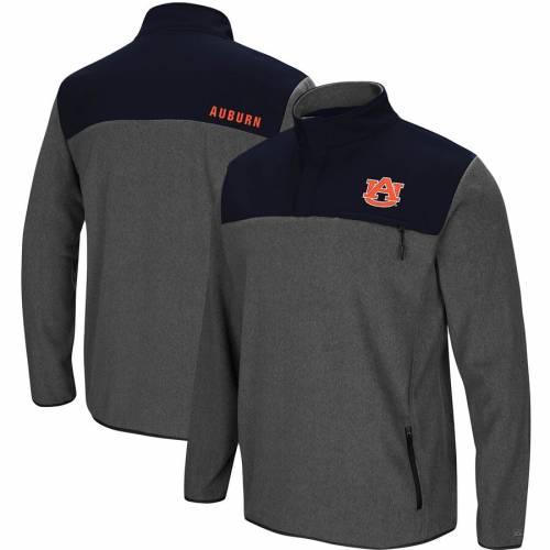 COLOSSEUM タイガース フリース チャコール メンズファッション コート ジャケット メンズ 【 Auburn Tigers You Can Do It Half-snap Fleece Jacket - Heathered Charcoal 】 Heathered Charcoal