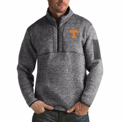 ANTIGUA テネシー 黒 ブラック メンズファッション コート ジャケット メンズ 【 Tennessee Volunteers Fortune Big And Tall Quarter-zip Pullover Jacket - Black 】 Charcoal