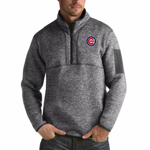 ANTIGUA シカゴ カブス ヘザー 黒 ブラック メンズファッション コート ジャケット メンズ 【 Chicago Cubs Fortune Big And Tall Quarter-zip Pullover Jacket - Heather Black 】 Heather Charcoal