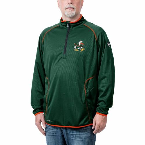 FRANCHISE CLUB マイアミ テック 【 MIAMI HURRICANES TONE TECH THERMATEC QUARTERZIP PULLOVER JACKET GREEN 】 メンズファッション コート ジャケット 送料無料