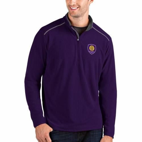 ANTIGUA オーランド シティ 黒 ブラック メンズファッション コート ジャケット メンズ 【 Orlando City Sc Glacier Quarter-zip Pullover Jacket - Black 】 Purple
