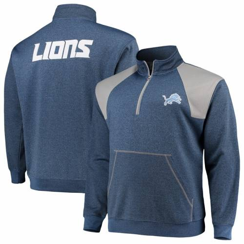 PROFILE デトロイト ライオンズ メンズファッション コート ジャケット メンズ 【 Detroit Lions Big And Tall Mesh Yoke Quarter-zip Jacket - Blue/silver 】 Blue/silver