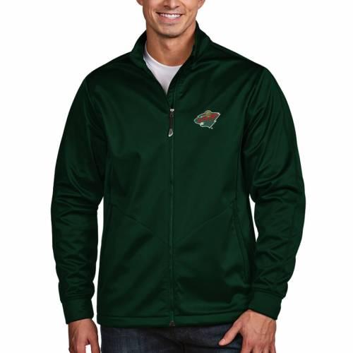 ANTIGUA ミネソタ ワイルド ゴルフ 黒 ブラック メンズファッション コート ジャケット メンズ 【 Minnesota Wild Full Zip Golf Jacket - Black 】 Green