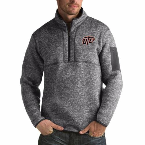 ANTIGUA 黒 ブラック メンズファッション コート ジャケット メンズ 【 Utep Miners Fortune Big And Tall Quarter-zip Pullover Jacket - Black 】 Charcoal