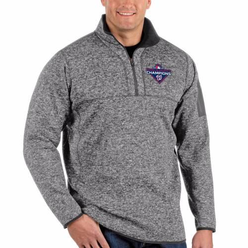 ANTIGUA ワシントン ナショナルズ シリーズ ヘザー チャコール メンズファッション コート ジャケット メンズ 【 Washington Nationals 2019 World Series Champions Big And Tall Fortune Quarter-zip Pullover Jacket
