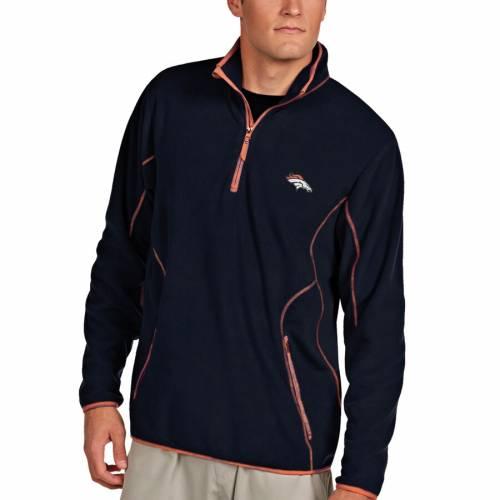 ANTIGUA デンバー ブロンコス 紺 ネイビー メンズファッション コート ジャケット メンズ 【 Denver Broncos Ice 1/4-zip Microfleece Pullover Jacket - Navy 】 Navy