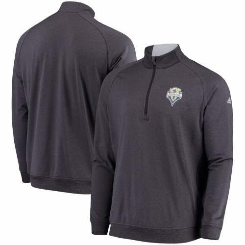 アディダス ADIDAS シアトル ゴルフ クラブ 黒 ブラック メンズファッション コート ジャケット メンズ 【 Seattle Sounders Fc Golf Club Quarter-zip Pullover Jacket - Heathered Black 】 Heathered Black