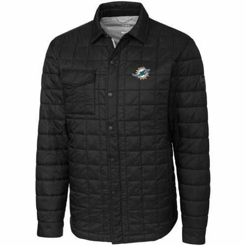 CUTTER & BUCK マイアミ ドルフィンズ 黒 ブラック メンズファッション コート ジャケット メンズ 【 Miami Dolphins Cutter And Buck Big And Tall Rainier Shirt Jacket - Black 】 Black