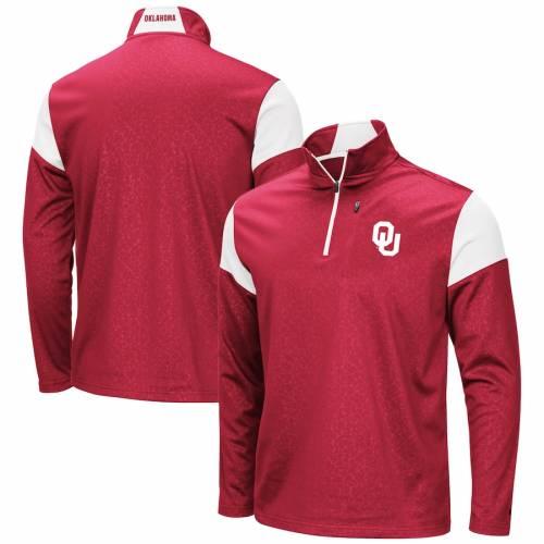 COLOSSEUM フリース メンズファッション コート ジャケット メンズ 【 Oklahoma Sooners Big And Tall Luge Fleece Quarter-zip Pullover Jacket - Crimson 】 Crimson