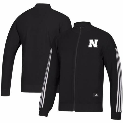 アディダス ADIDAS スタジアム トラック 黒 ブラック メンズファッション コート ジャケット メンズ 【 Nebraska Cornhuskers Stadium Full-zip Track Jacket - Black 】 Black