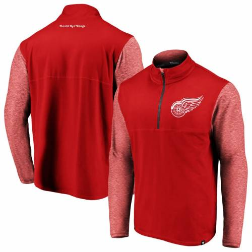 FANATICS BRANDED デトロイト 赤 レッド メンズファッション コート ジャケット メンズ 【 Detroit Red Wings Made To Move Quarter-zip Pullover Jacket - Red/heathered Red 】 Red/heathered Red