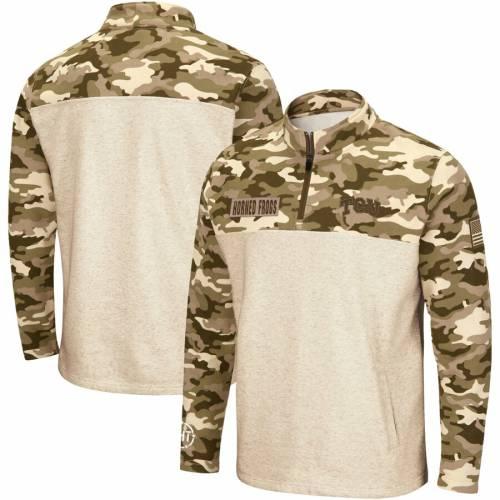 COLOSSEUM メンズファッション コート ジャケット メンズ 【 Tcu Horned Frogs Oht Military Appreciation Desert Camo Quarter-zip Pullover Jacket - Oatmeal 】 Oatmeal