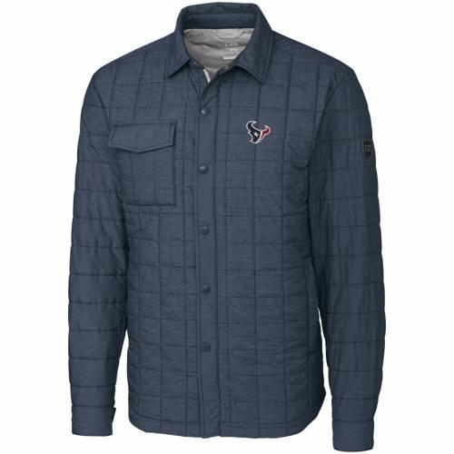 CUTTER & BUCK ヒューストン テキサンズ チャコール メンズファッション コート ジャケット メンズ 【 Houston Texans Cutter And Buck Rainier Shirt Jacket - Charcoal 】 Charcoal
