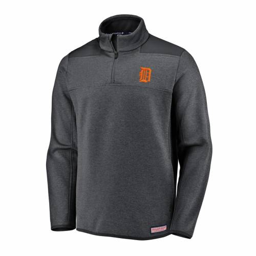 VINEYARD VINES デトロイト タイガース パフォーマンス チャコール メンズファッション コート ジャケット メンズ 【 Detroit Tigers Performance Quarter-zip Shep Shirt Pullover Jacket - Charcoal 】 Charcoal