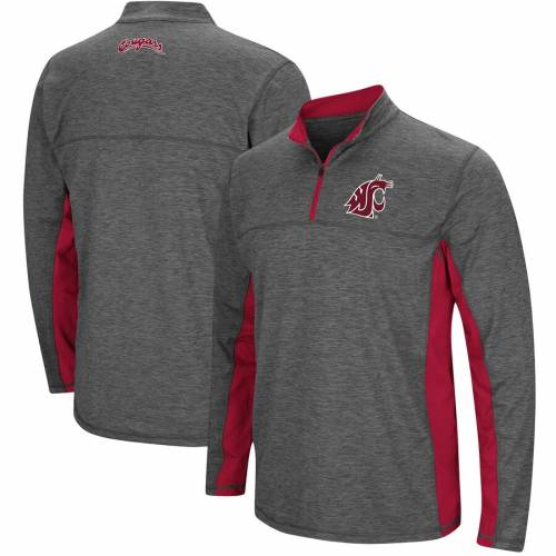 COLOSSEUM ワシントン スケートボード チャコール メンズファッション コート ジャケット メンズ 【 Washington State Cougars Milton Windshirt Quarter-zip Pullover Jacket - Heathered Charcoal 】 Heathered Charcoal