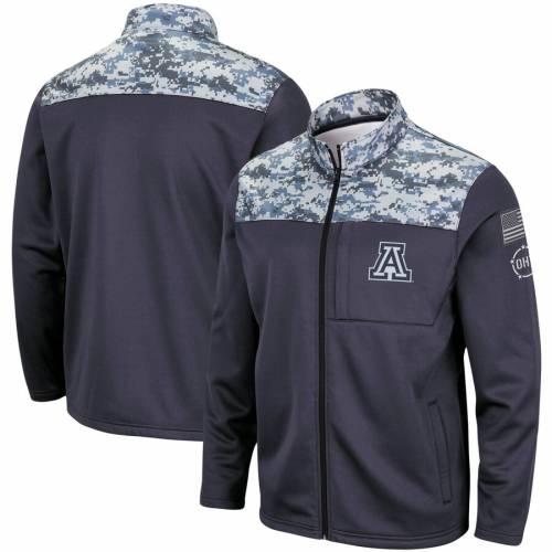 COLOSSEUM アリゾナ フリース チャコール メンズファッション コート ジャケット メンズ 【 Arizona Wildcats Oht Military Appreciation Fleece Full-zip Jacket - Charcoal 】 Charcoal