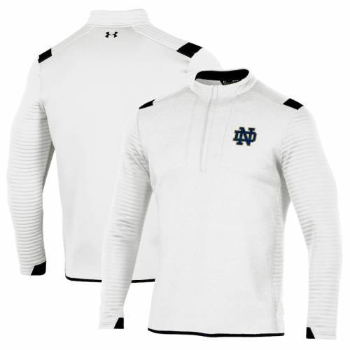 アンダーアーマー UNDER ARMOUR 白 ホワイト メンズファッション コート ジャケット メンズ 【 Notre Dame Fighting Irish Daytona Quarter-zip Pullover Jacket - White 】 White