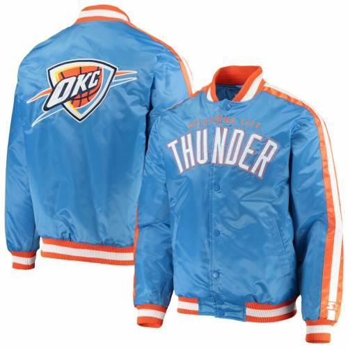 スターター STARTER シティ サンダー サテン 青 ブルー メンズファッション コート ジャケット メンズ 【 Oklahoma City Thunder The Offensive Varsity Satin Full-snap Jacket - Blue 】 Blue