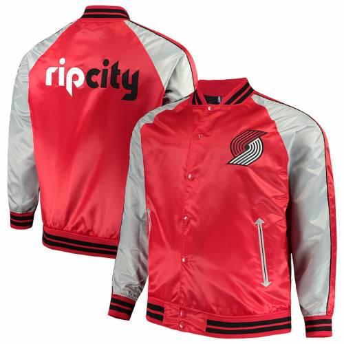 マジェスティック MAJESTIC ポートランド サテン 赤 レッド メンズファッション コート ジャケット メンズ 【 Portland Trail Blazers Big And Tall Lightweight Satin Full-snap Jacket - Red 】 Red