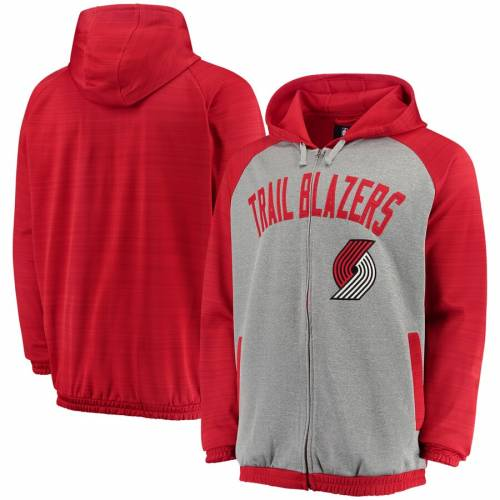 G-III SPORTS BY CARL BANKS ポートランド レジェンド トラック メンズファッション コート ジャケット メンズ 【 Portland Trail Blazers Legend Space Dye Full Zip Hooded Track Jacket - Gray/red 】 Gray/red