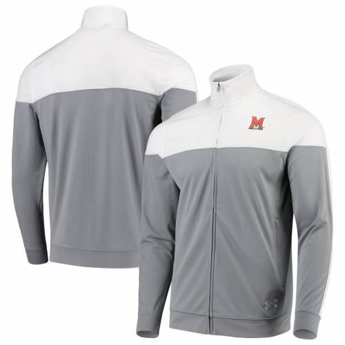 アンダーアーマー UNDER ARMOUR メリーランド カレッジ トラック 白 ホワイト メンズファッション コート ジャケット メンズ 【 Maryland Terrapins College Track Jacket - White 】 White