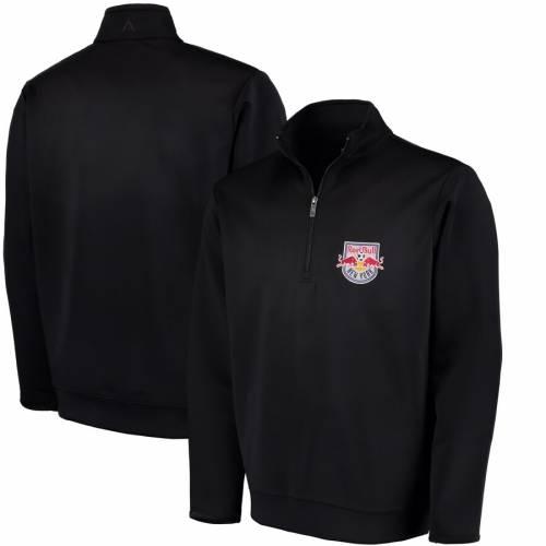 ANTIGUA 赤 レッド ブルズ 黒 ブラック メンズファッション コート ジャケット メンズ 【 New York Red Bulls Leader Quarter-zip Pullover Jacket - Black 】 Black