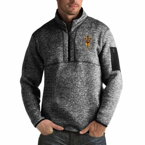 ANTIGUA アリゾナ スケートボード 黒 ブラック メンズファッション コート ジャケット メンズ 【 Arizona State Sun Devils Fortune Big And Tall Quarter-zip Pullover Jacket - Black 】 Black