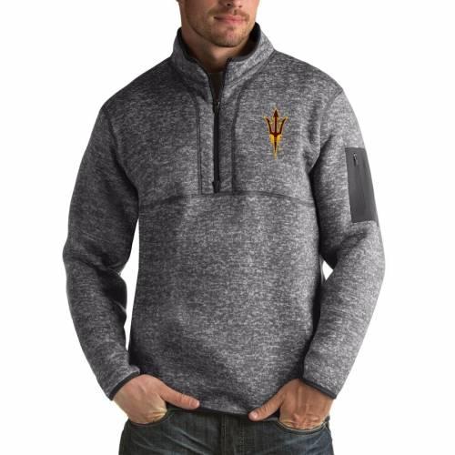 ANTIGUA アリゾナ スケートボード 黒 ブラック メンズファッション コート ジャケット メンズ 【 Arizona State Sun Devils Fortune Big And Tall Quarter-zip Pullover Jacket - Black 】 Charcoal