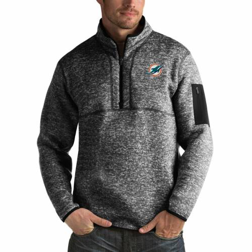 ANTIGUA マイアミ ドルフィンズ チャコール メンズファッション コート ジャケット メンズ 【 Miami Dolphins Fortune Big And Tall Quarter-zip Pullover Jacket - Charcoal 】 Heather Black