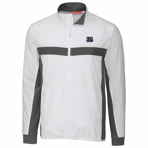 CUTTER & BUCK シンシナティ ベンガルズ 紺 ネイビー メンズファッション コート ジャケット メンズ 【 Cincinnati Bengals Cutter And Buck Americana Swish Full-zip Jacket - Navy 】 White