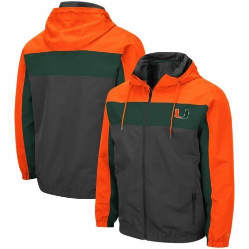 COLOSSEUM マイアミ チャコール メンズファッション コート ジャケット メンズ 【 Miami Hurricanes Brockman Full-zip Jacket - Charcoal 】 Charcoal