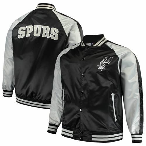 マジェスティック MAJESTIC スパーズ サテン 黒 ブラック メンズファッション コート ジャケット メンズ 【 San Antonio Spurs Big And Tall Lightweight Satin Full-snap Jacket - Black 】 Black