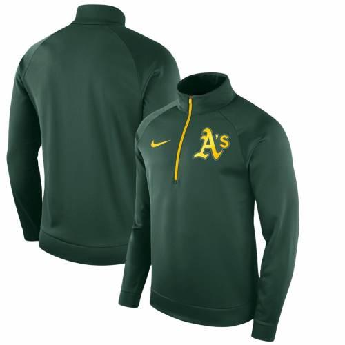 ナイキ NIKE オークランド サーマ 緑 グリーン メンズファッション コート ジャケット メンズ 【 Oakland Athletics Therma Top Bench Half-zip Pullover Jacket - Green 】 Green